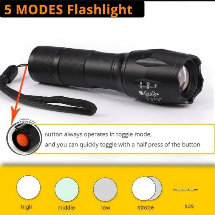 LED Flashlight Tactical Flashlight 10000 Lumens T6/L2//V6 Zoomable 5 Modes Lanterna LED Torch Flashlights For Camping