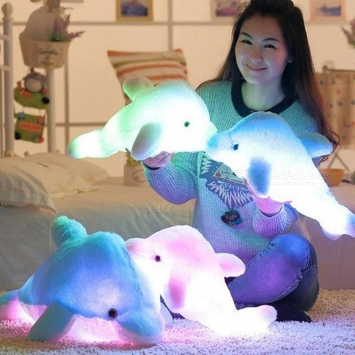 Colorful Dolphin Plush Doll Toy Luminous Plush Stuffed Flashing Cushion Pillow With LED Light Party Birthday Gift 45CM