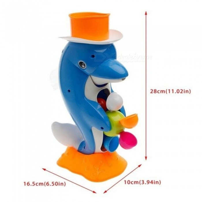 Cute Dolphin Bath Shower Wheel Toy Baby Kids Water Spraying Tool Bathroom Gift With Blue Color Plastic