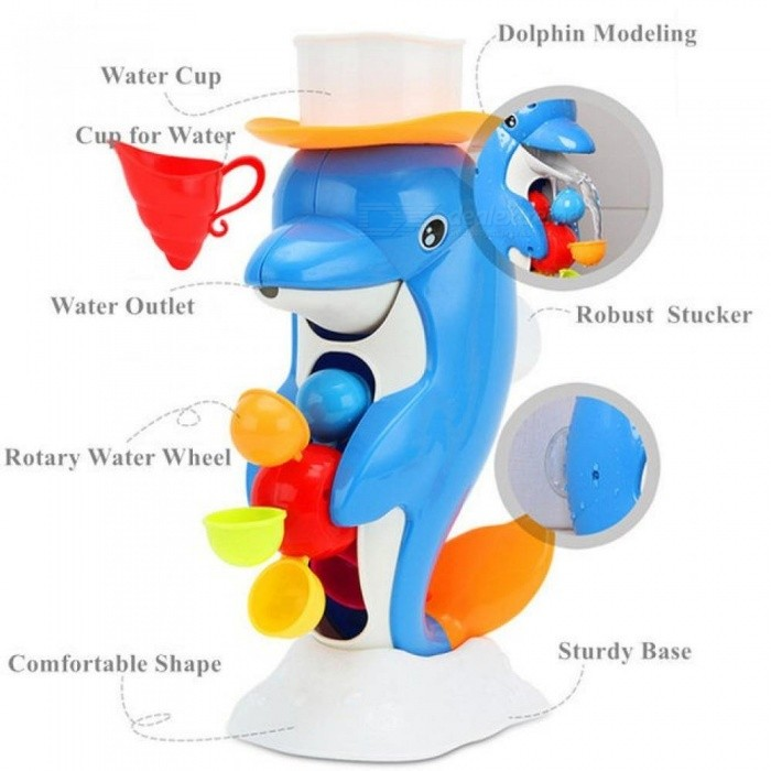 Funny Water Game Bath Toy Duck/Dolphin Shower Faucet Baby Bath Spout Play Bathroom Toys for Kids or Beach Toy in Summer