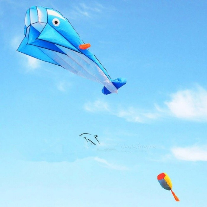 Large Soft Dolphin Kite Ripstop Nylon Outdoor Toys Flying Octopus Kite Factory Alien Inflatable Blue Color