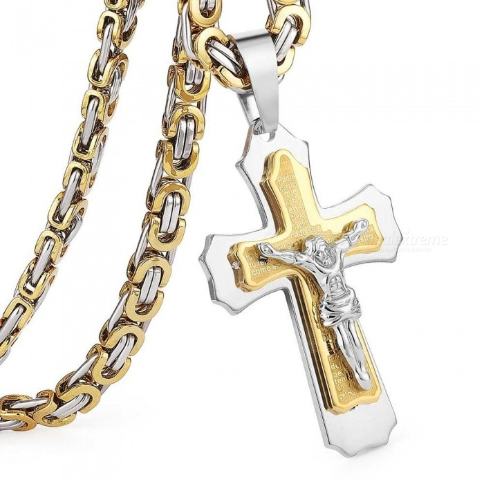 Multilayer Cross Christ Jesus Pendant Necklace Stainless Steel Link Byzantine Chain Heavy Men Jewelry Gift