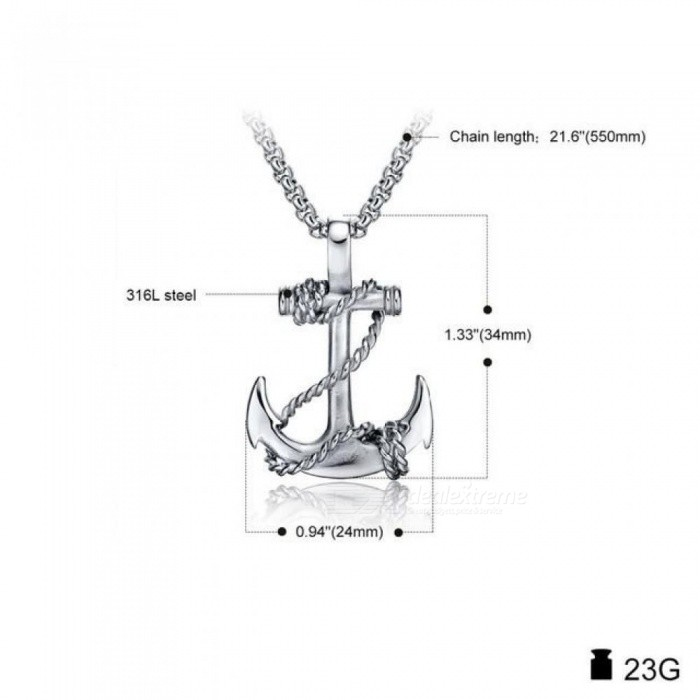 Punk Men Titanium Steel Pendants Chain Anchor Necklace Cross Men Women Stainless Fashion Jewelry Black/Gold/Silver Gift