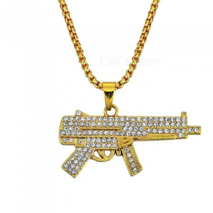 Mens Iced Out Gun Pendant Necklace Fashion Jewelry For Men And Women With Gold Color Zinc Alloy Pendant