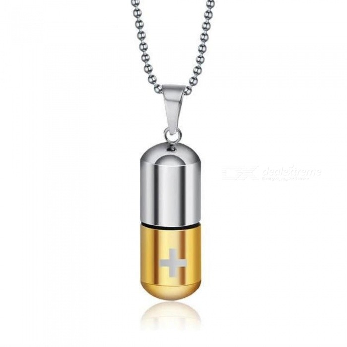 Cool Mens Punk Open Capsule Necklace Perfume Bottle Pill Cross Stainless Steel Pendants Chain For Women Gift