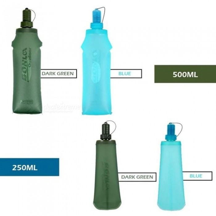 Sport Water Bottle Water Bag TPU Folding Soft Flask Running Camping Hiking Bicycle Water Bag Foldable Drink Bottle 250ml 500ml