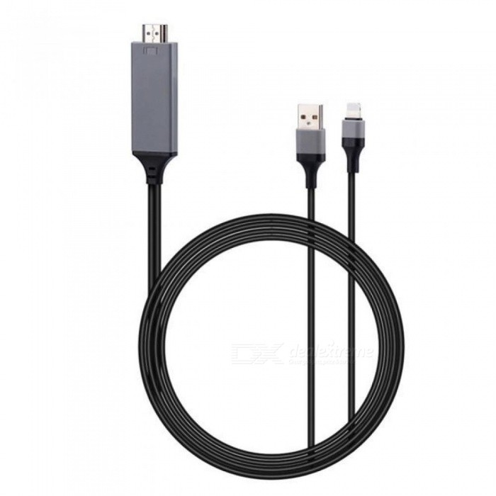 2M USB 8 Pin to HDMI HDTV AV Cable Adapter for iPhone 7 7 Plus 6S 6 Plus 5S 5 Charging Adapter Cable 0.11 Black