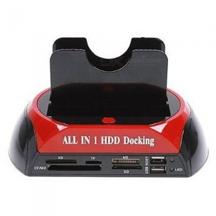 Hot HDD SATA IDE All-In-One Dual HDD Docking Station With USB Hub With Red Black Color 180 x 111 x 98mm