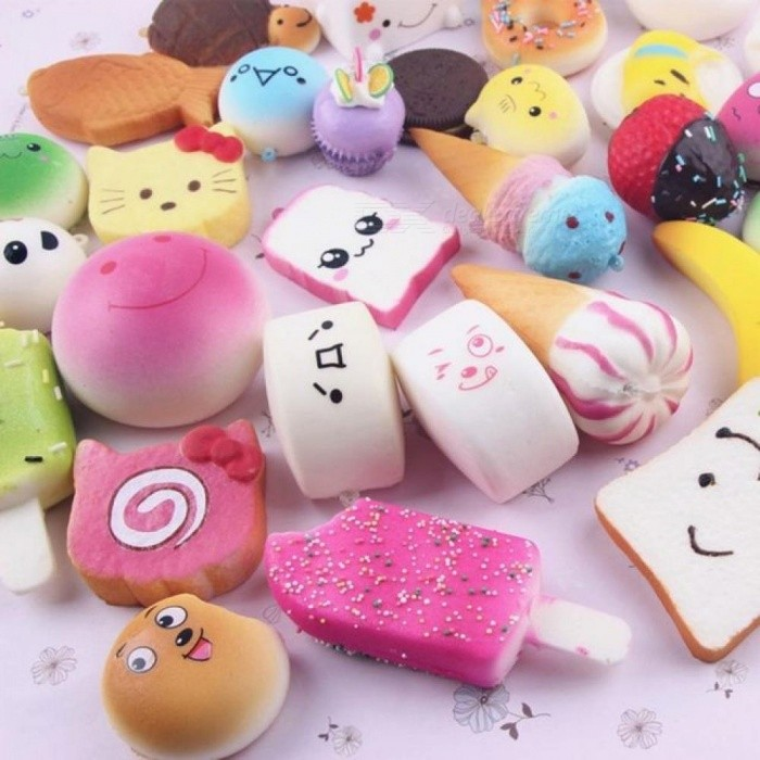 Colorful Bread Squishy Straps SoftPhone Drop Ornament Cell Phone Decoration Toys 10 Pcs/Set PU Material