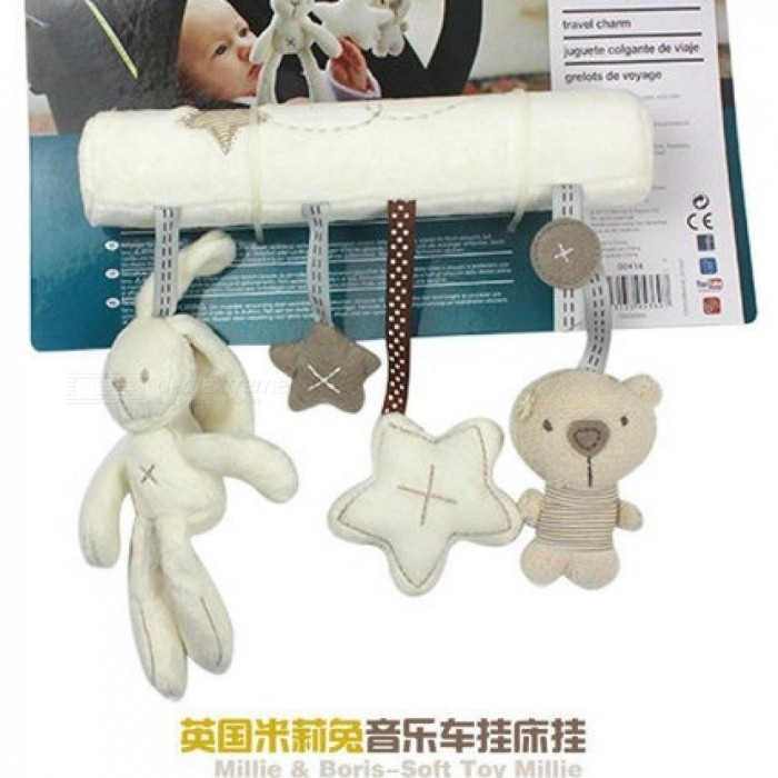 Rattle Toys hanging toy baby Stroller Rabbit Squishy Hanging rattle Bunny Plush Hanging Bed Plush Rabbit Hang Toys 21cm*20CM