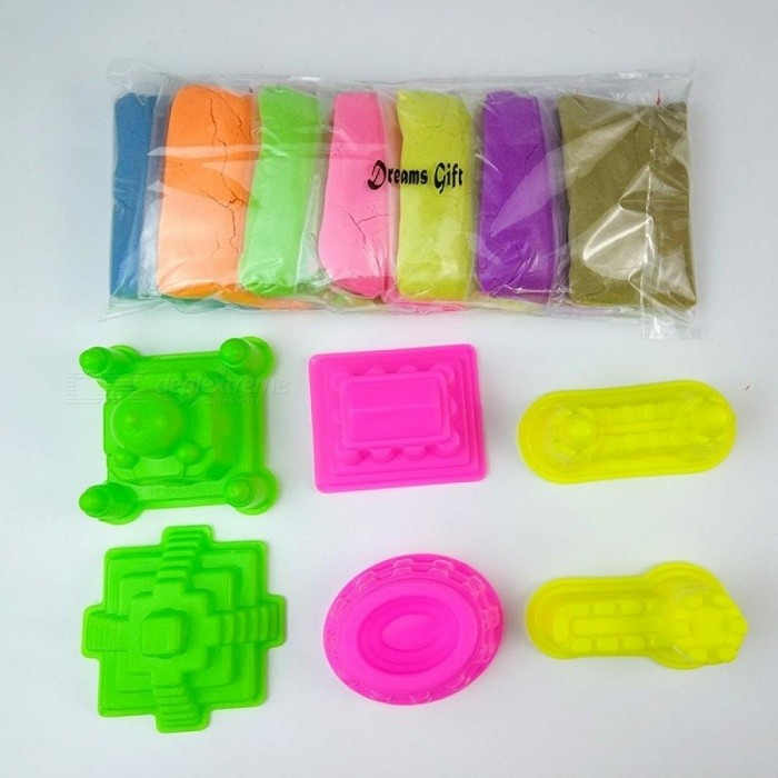 Dynamic Sand Presented six molds Squishy Fluffy with Tools Dynamic  Magic Beach Space Sand Toys For Children 700g/Set