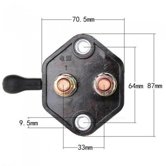 12V-24V Car Boat Battery Double Poles Disconnect Isolator Power Switch 120*87*70 MM With Black Color 1 PCS