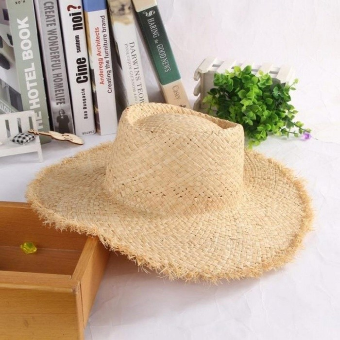 3a1f27c2a Floppy Raffia Large Brim Straw Hat Dome Jazz Caps Sombrero Fashion Ladies  Beach Hat Outdoor Summer Sun Hats For Women A