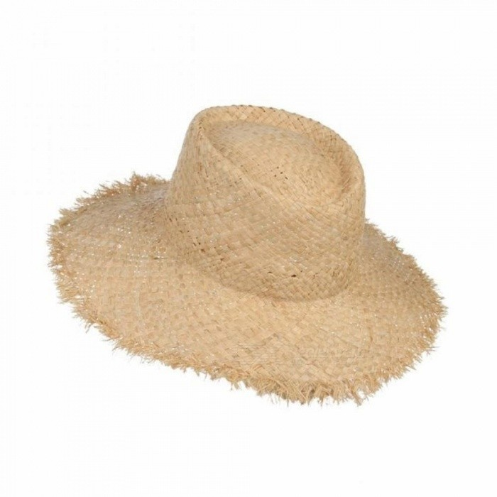 e44551d44 Floppy Raffia Large Brim Straw Hat Dome Jazz Caps Sombrero Fashion Ladies  Beach Hat Outdoor Summer Sun Hats For Women A