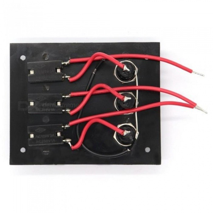Fused Marine Switch Panel 12v 3 Gang Toggle Switch Panel with 5A Fuses Car Switch Panel Boat  Black Color