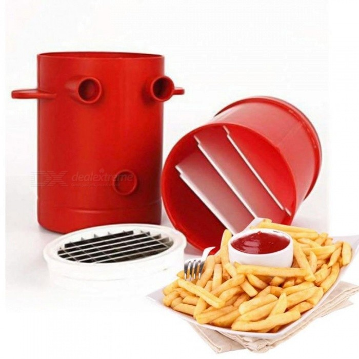 Fries Potatoes Maker Slicers French Fries Maker Jiffy Fries Cutter Machine & Microwave Container 2-in-1 No Deep-Fry