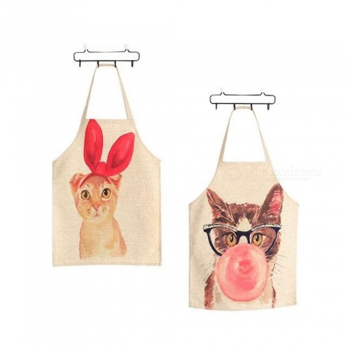 Linen Cute Cat Parent-Child Aprons Funny Kitchen Clean Tool For Cooking Painting Red Or Brown Color Optional