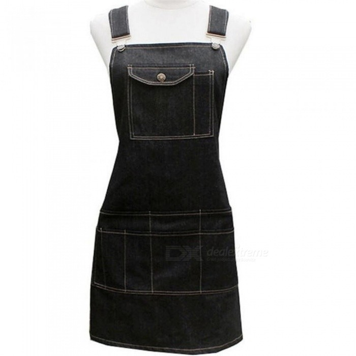 Fashion Black Cotton Denim Apron Funny Cooking Work Aprons With Pockets Strap For Men Women Barber Cafe Restaurant Unisex
