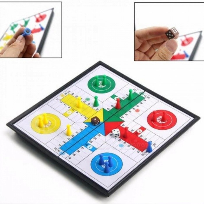 U3 Folding Magnetic Ludo Set Children Chess Game Fold Packable Ludo Trip Entertainment Games for Kids