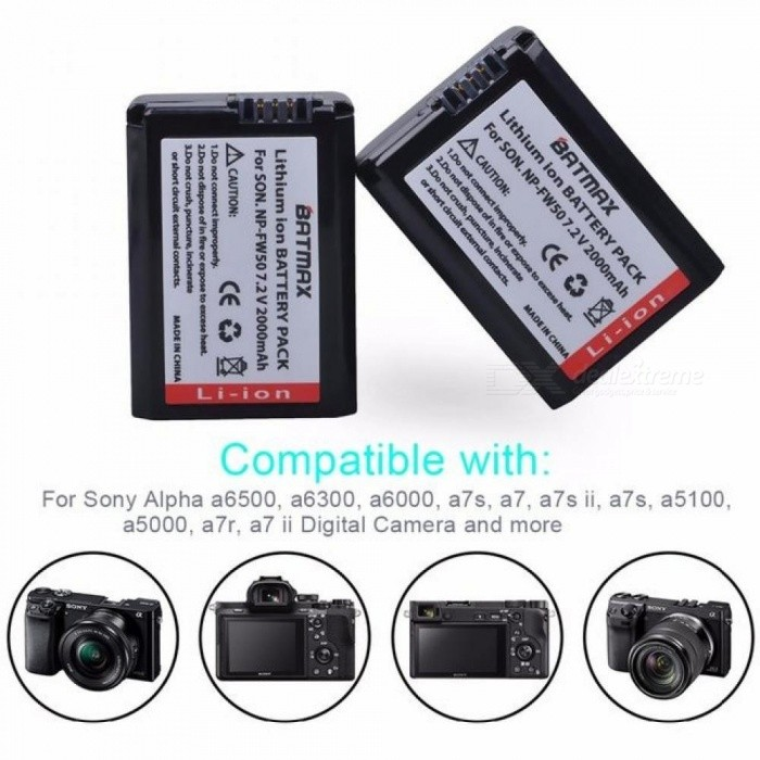2000mAh NP-FW50 NP FW50 Camera Battery + LCD USB Dual Charger for Sony Alpha a6500 a6300 a6000 a5000 a3000 NEX-3 a7R 2 PCS
