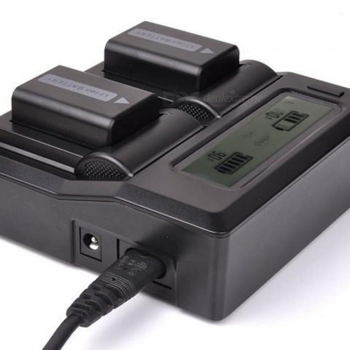 DSLR LCD Dual Battery Plug Charger For Sony NP-FW50 A5100 A6000 RX10 A7R A7S A7II NEX7 5R With Black Color