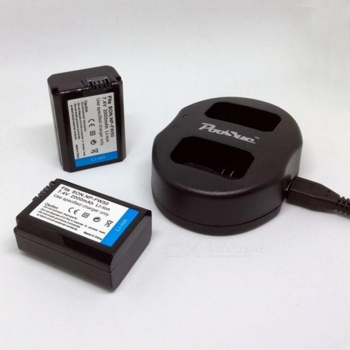 NP-FW50 NP FW50 Battery + Dual Charger For Sony A37 A6000 NEX-7 NEX-5N NEX-3 NEX-3DW NEX-3K NEX-5C NEX-5DB Alpha 7R II 2PCS