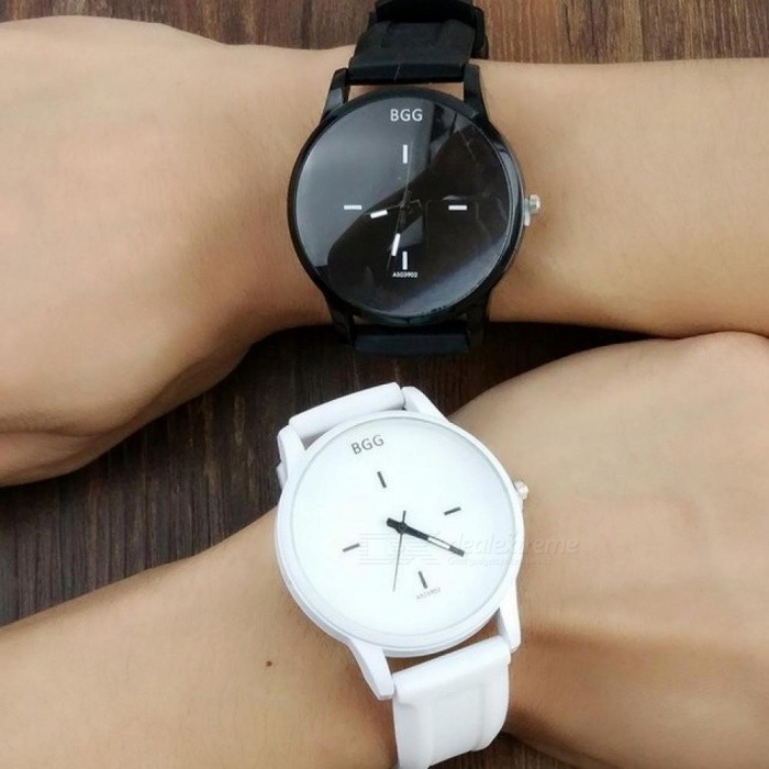 Classic Black and White Silicone Quartz Watch BGG Brand Women wristwatches Lovers Jelly Casual Watch ladies simple Clock Hours