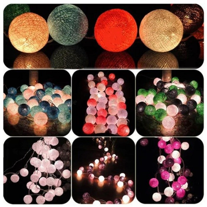 20 LED Cotton Balls Globe Fairy String Lights Waterproof  Fairy lights Party Home Decoration Christmas 3 M