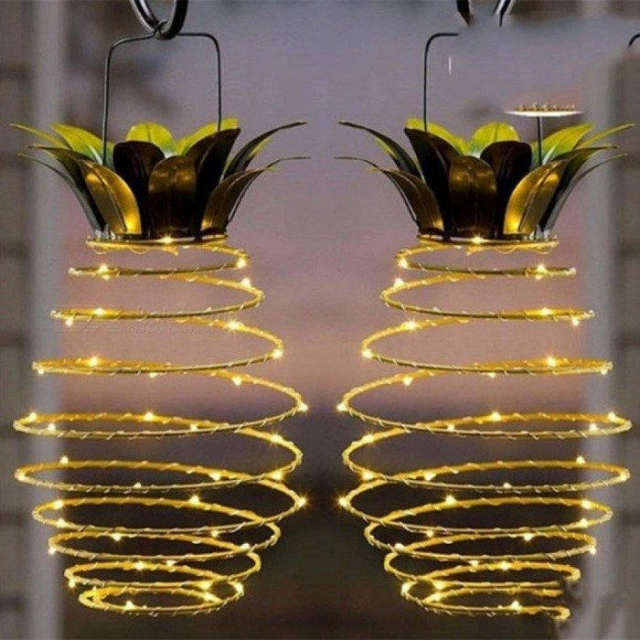 Pineapple Outdoor Solar Garden Camping Hanging Light Home Garden Solar Light With 25 LED Copper Wire Fairy String