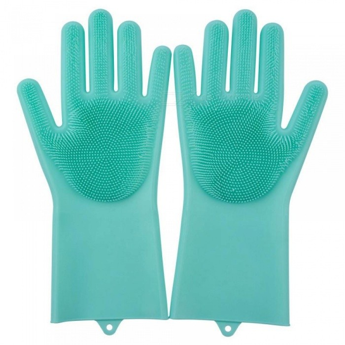 A Pair of Magic Silicone Scrubber Rubber Cleaning Gloves Dusting Dish Washing for Multipurpose Kitchen Bed Bathroom Hair Care