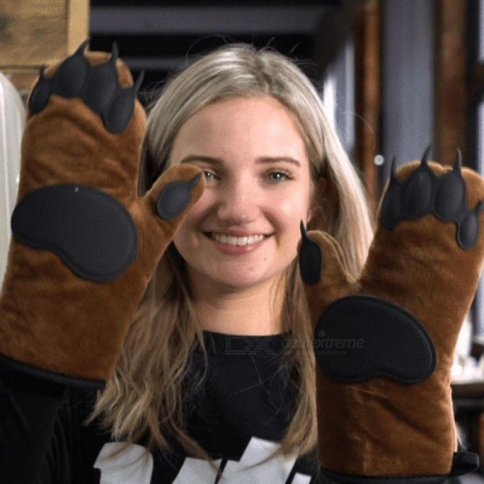 1 Pair of Cute Bear Paw Kitchen Insulated Non-Slip Glove Thickening High Temperature Oven Glove Cooking Microwave Oven Mitt
