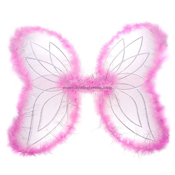 3-Piece Fuzzy-Rimmed Charming Angel Wings Set (Color Assorted)