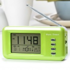 "Portable MP3 Player FM Speaker w/ 2.8"" LCD Digital Clock Thermometer - Green + White (TF/USB Host)"
