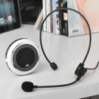 Portable USB Rechargeable Speaker w/ Headset Microphone Loudspeaker Set - Black