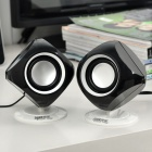 Stylish Mini 5W USB Powered Music Speakers - Black (3.5mm Jack/80cm-Cable)