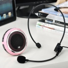 Portable USB Rechargeable MP3 Player Speaker w/ Headset Microphone/USB Loudspeaker Set - Pink