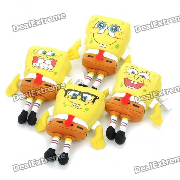 Cute SpongeBob SquarePants Figure Dolls with Suction Cup - Yellow (4-Piece/Random Pattern) cute smile face expression round erasers yellow 4 piece random style