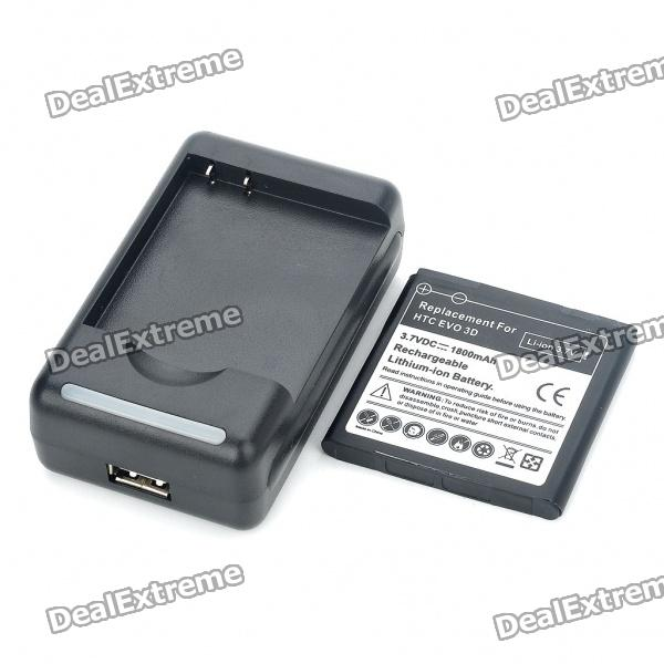 USB Battery Charging Dock + 3.7V 1800mAh Battery + EU Plug Adapter for HTC EVO 3D eu standard usb charger adapter