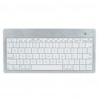 Stylish Ultra-Slim Mini Rechargeable 80-Key Bluetooth Wireless Keyboard - White + Silver