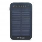 Solar Powered Rechargeable 5600mAh Portable Power Pack with Flashlight/Charging Adapters - Black