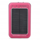 Solar Powered Rechargeable 2600mAh Portable Power Pack with Flashlight/Charging Adapters - Dark Red