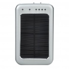 Solar Powered Rechargeable 2600mAh Portable Power Pack with Flashlight/Charging Adapters - Silver
