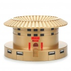 Unique Hakka Earth Castle Style USB Powered MP3 Player Speaker w/ Card Reader/4-Port HUB - Golden