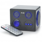 Stylish Square Rechargeable MP3 Player Speakers w/ Remote Controller/SD Slot - Black + Blue