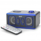 Stilvolle Platz Rechargeable MP3 Player Lautsprecher w / Fernbedienung / SD Slot - Brown + Blau