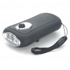Hand Crank Power 3-LED 2-Mode White Light Flashlight w/ Cell Phone Power Adapters - Black