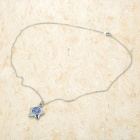 Fashion Zinc Alloy Necklace - Silver + Blue