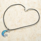 Moon & Star Style Necklace - Silver + Blue + Black