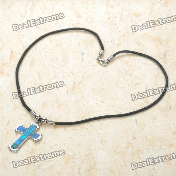 Cross Style Necklace - Silver + Black + Blue