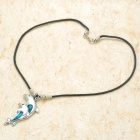 Dual-Dolphin Style Necklace - Silver + Blue + Black